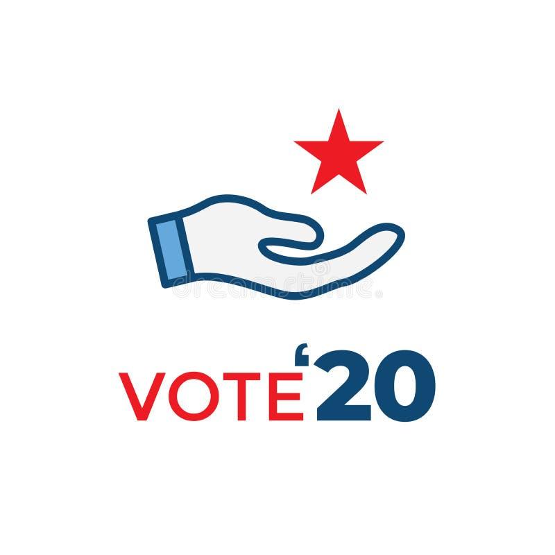 Głosować 2020 ikonę z głosowaniem, rząd, Patriotyczny symbolizm & kolory, royalty ilustracja