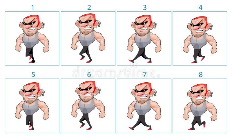 Gå animering av ett ilsket tecken för tecknad film i 8 ramar i lo vektor illustrationer