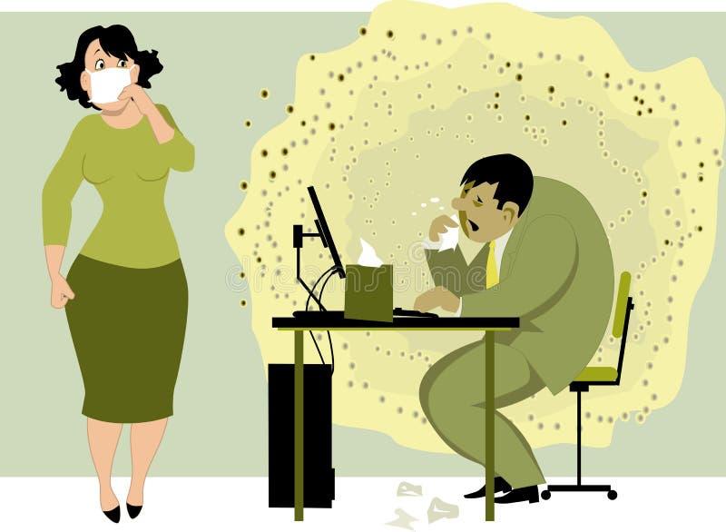 Gå att arbeta med en influensa stock illustrationer