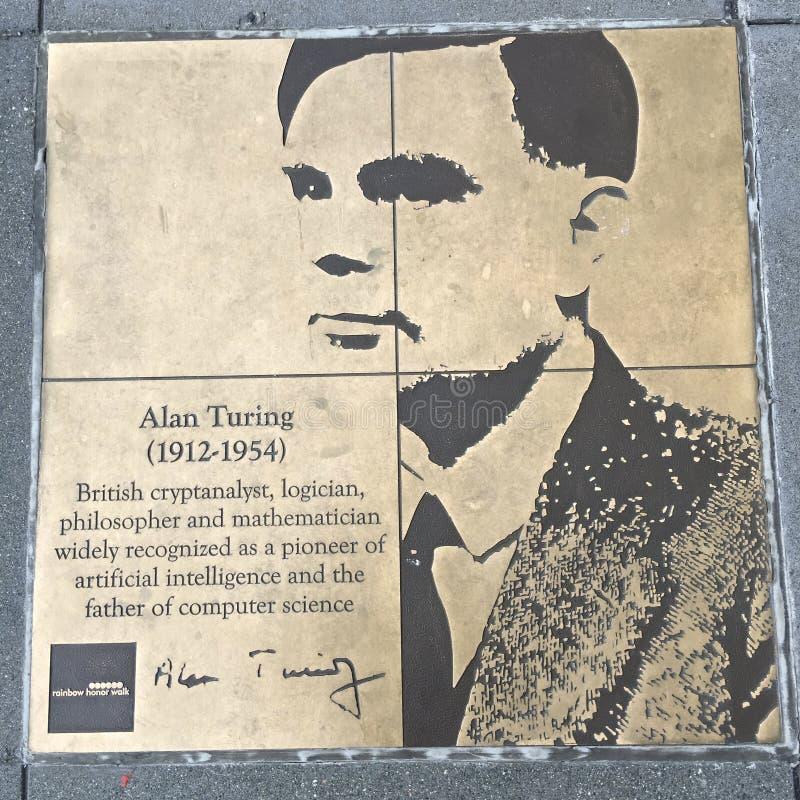 Gå av bög, regnbågehedern går, Alan Turing royaltyfri bild