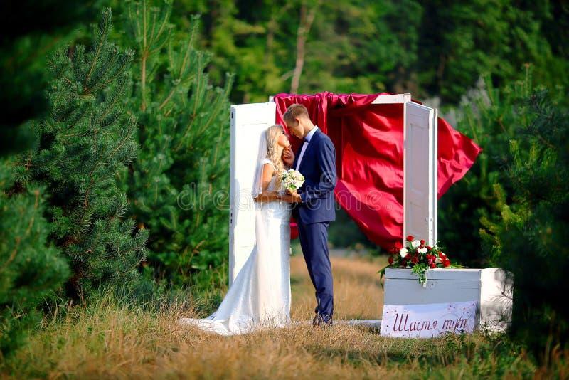 Gå brölloppar i skogbrudgumbruden som slår hår Selektivt fokusera royaltyfri foto