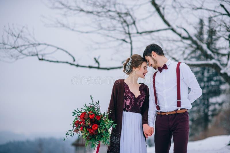 Gå brudgummen och bruden i de Carpathian bergen royaltyfri fotografi