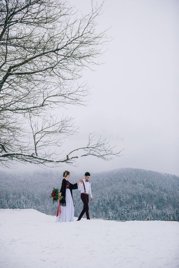 Gå brudgummen och bruden i de Carpathian bergen arkivbilder
