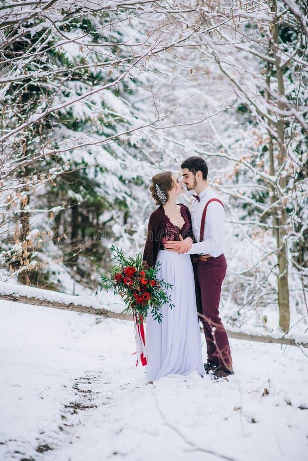 Gå brudgummen och bruden i de Carpathian bergen royaltyfria bilder