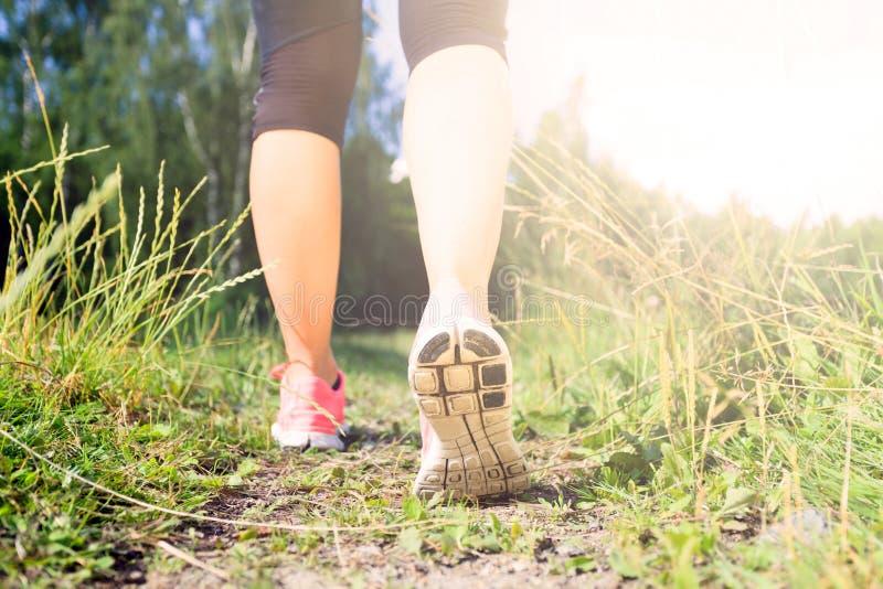 Gå eller köra lägger benen på ryggen, i skog, affärsföretag och att öva royaltyfri bild