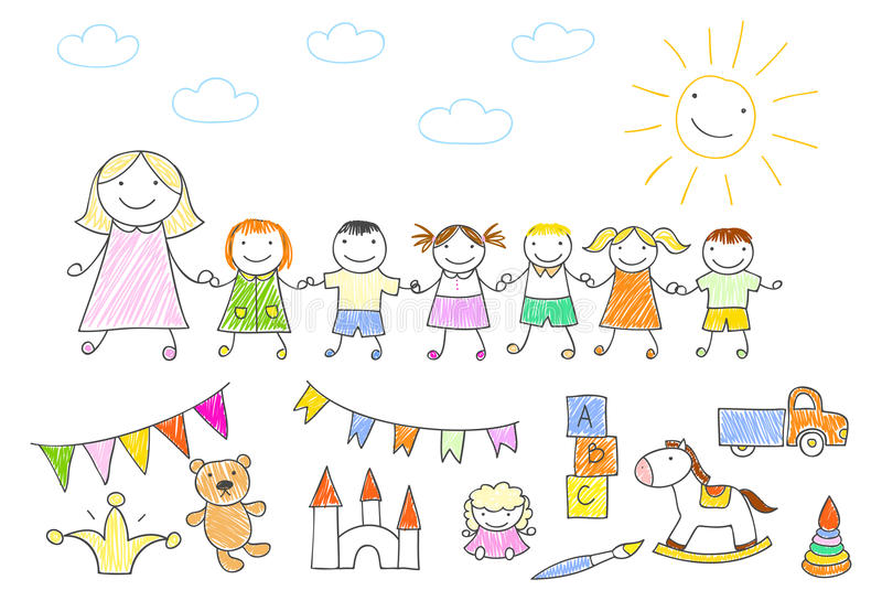 Gå för dagislärare som är utomhus- med ungar som rymmer händer royaltyfri illustrationer