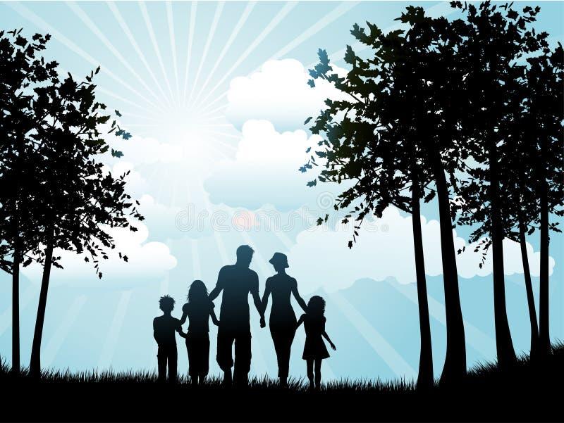 gå för familj royaltyfri illustrationer