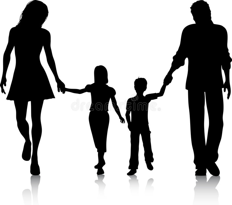 gå för familj stock illustrationer