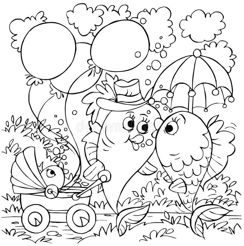 gå för familjfisk stock illustrationer