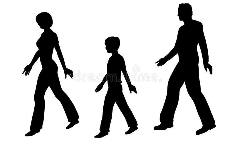 gå för familjvektor royaltyfri illustrationer