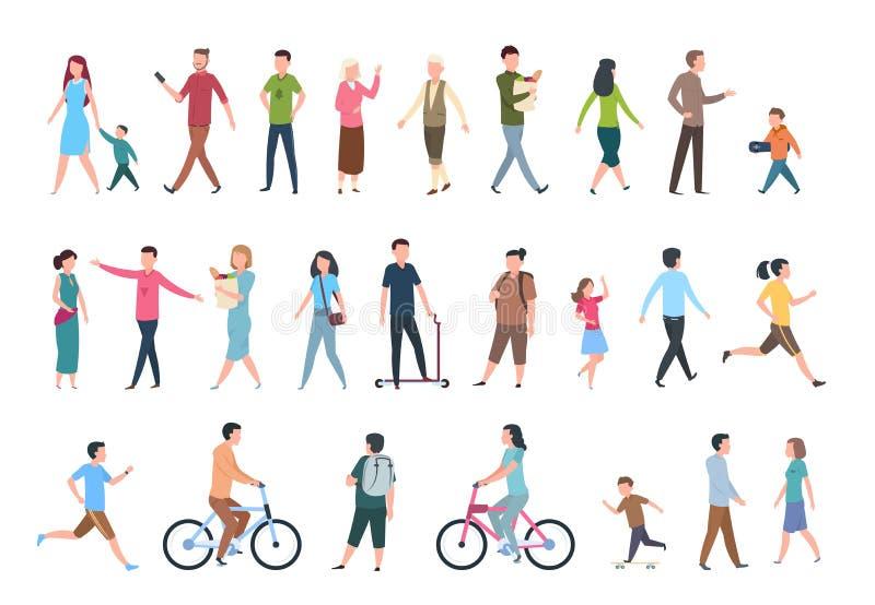 gå för folk Personer i tillfällig kläder, folkmassa går i stad Mänsklig teckenuppsättning för vektor vektor illustrationer