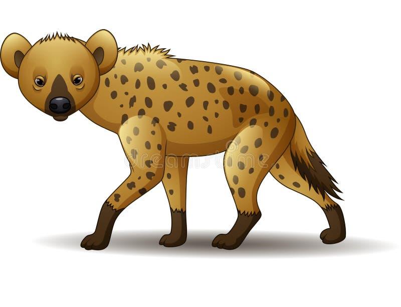 Gå för hyena för tecknad film som roligt isoleras på vit bakgrund stock illustrationer