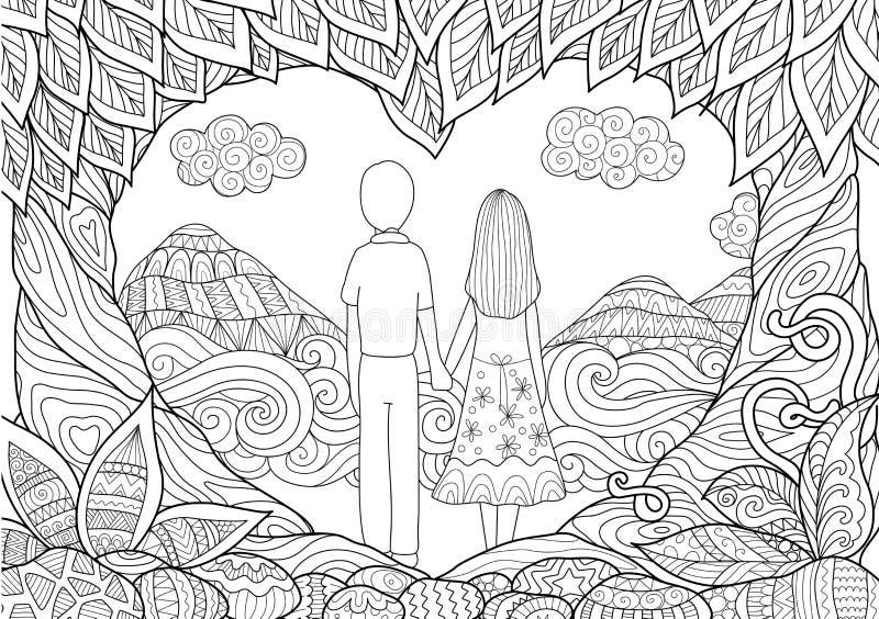 gå för litet barn för solnedgång för holding för hand för trädgård för barn för vuxen människabakgrundspojke stock illustrationer