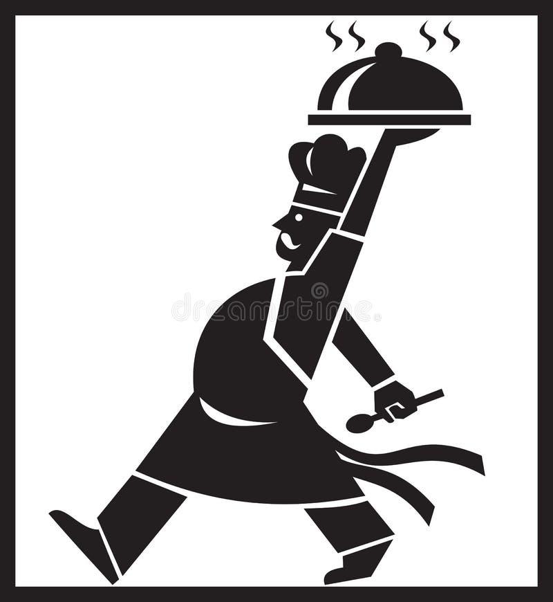 gå för serving för uppläggningsfat för mat för bagarekockkock retro stock illustrationer