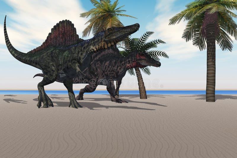 gå för spinosaurus stock illustrationer