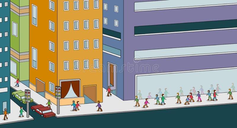 gå för stadsfolk royaltyfri illustrationer