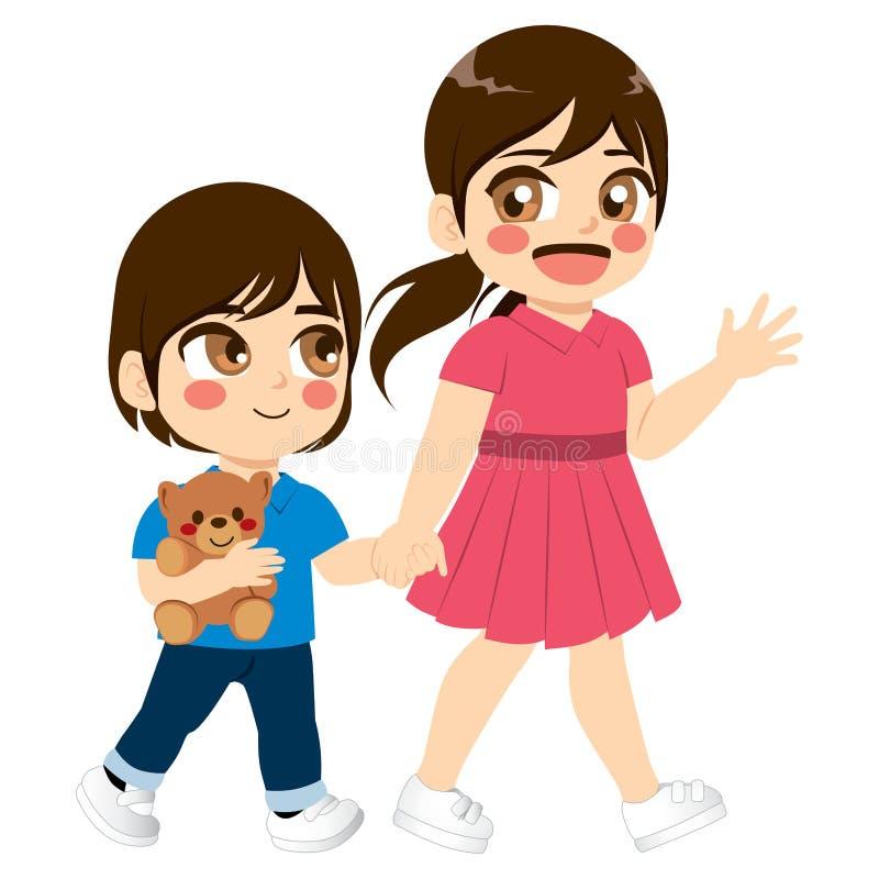 Gå för syskon royaltyfri illustrationer