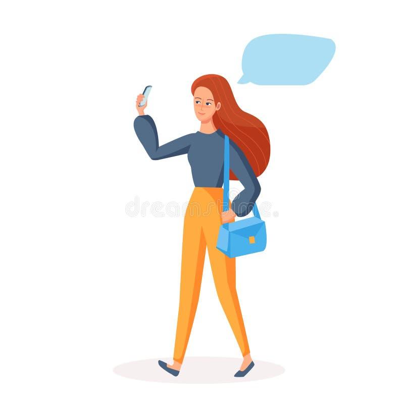 Gå flickan som använder mobiltelefonen med det tomma stället för citationstecken Socialt kommunikationsbegrepp för att ta selfie, stock illustrationer