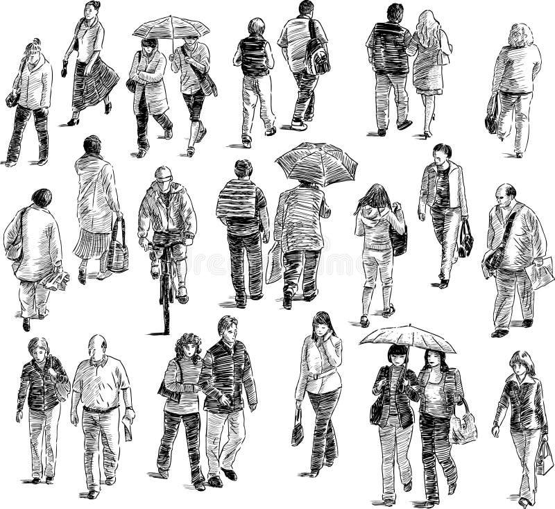Gå folk royaltyfri illustrationer