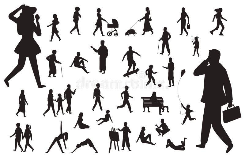 Gå folkkonturn Svarta diagram av den lyckliga mannen för arbete för ung dam för barnkvinna som går isolerade uppsättningen för pe vektor illustrationer