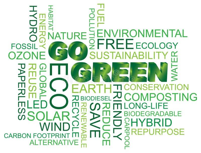 Gå grön uttrycker molnillustrationen royaltyfri illustrationer
