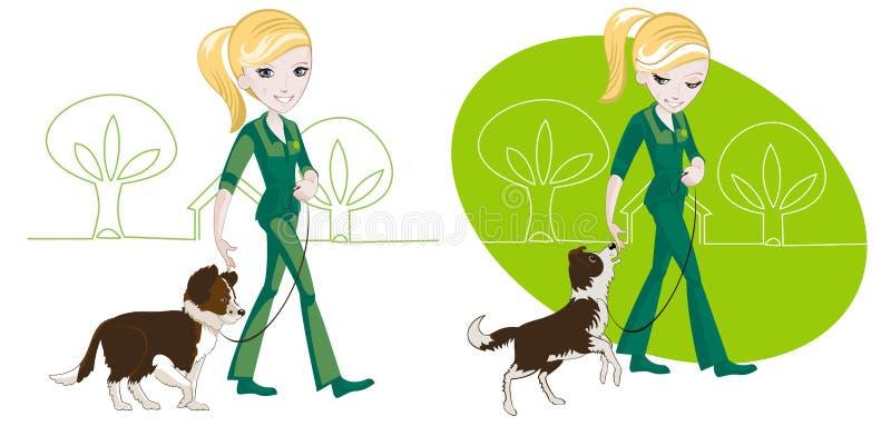Gå hunden royaltyfri illustrationer