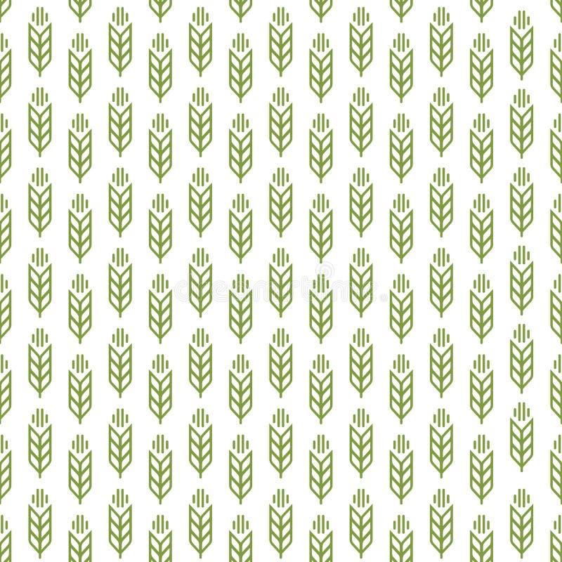 Gå i ax grön färg för den sömlösa modellen på vit bakgrund för decorat stock illustrationer
