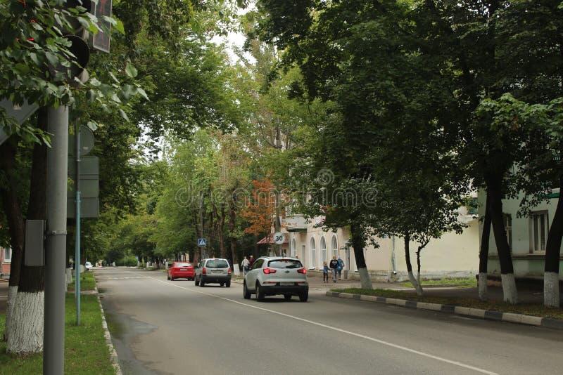 Gå i den Fryazino staden Juli 2019 Gammalt hem för Lenin gata arkivfoto