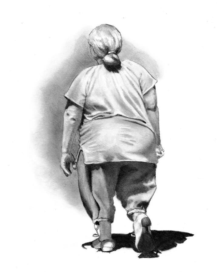 gå kvinna för away teckningsblyertspenna vektor illustrationer