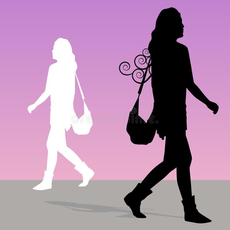 gå kvinna för handväska royaltyfri illustrationer