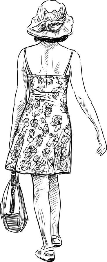 Gå kvinnan vektor illustrationer