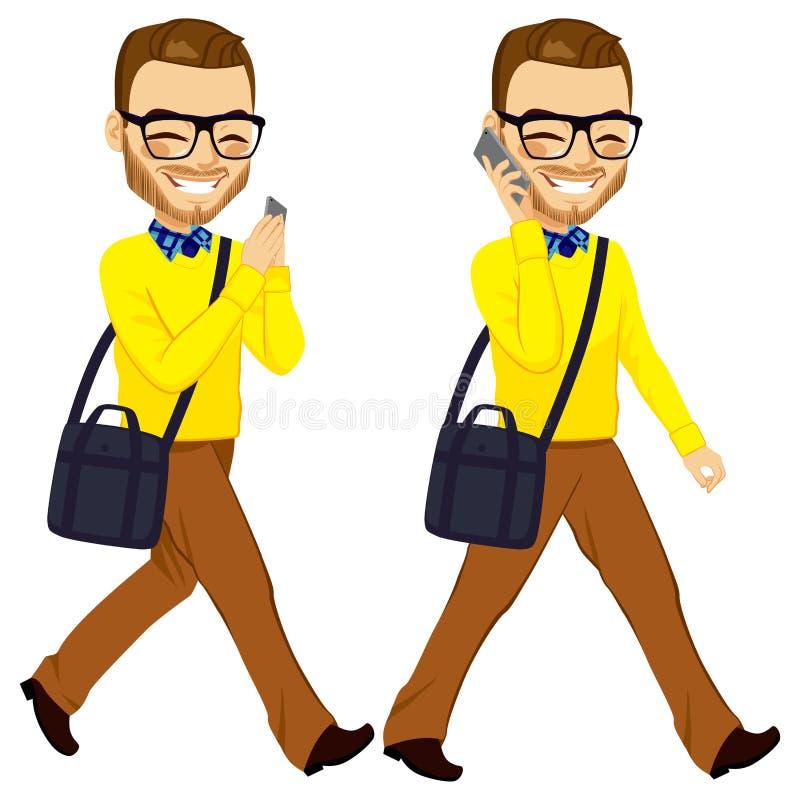 Gå mannen med Smartphone vektor illustrationer