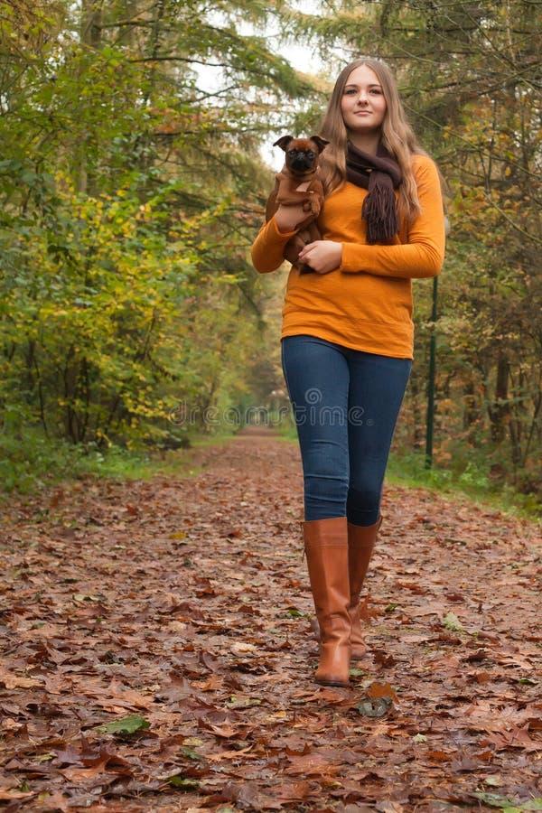 Gå med hunden arkivbild