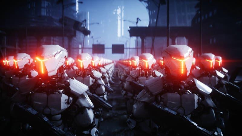 Gå militära robotar Invasion av militära robotar Toppet realistiskt begrepp för dramatisk apokalyps framtid framförande 3d vektor illustrationer