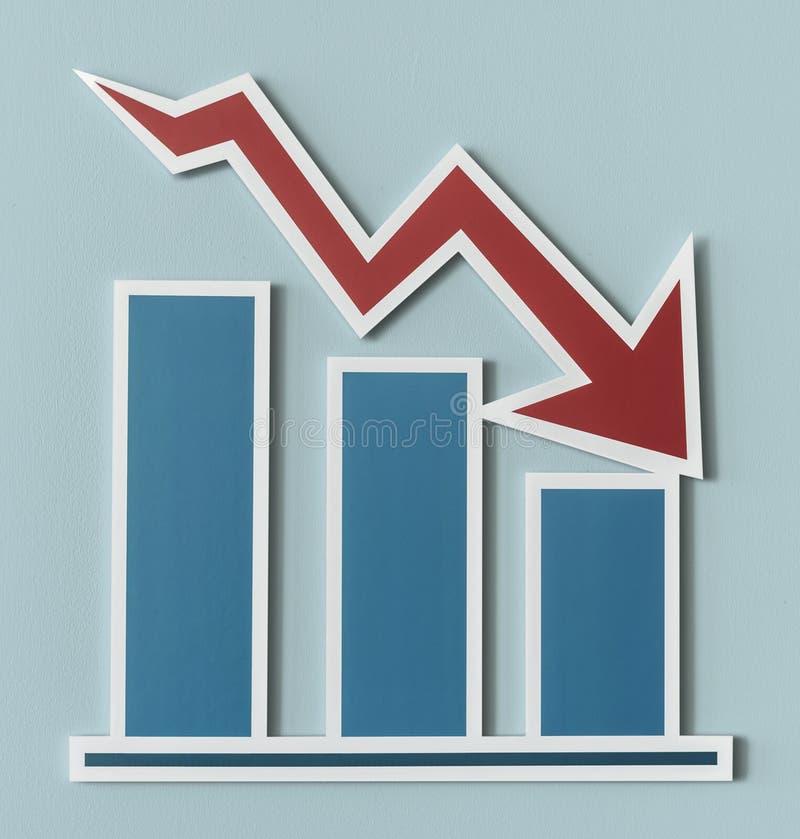 Gå ned diagrammet för stång för affärsrapport stock illustrationer