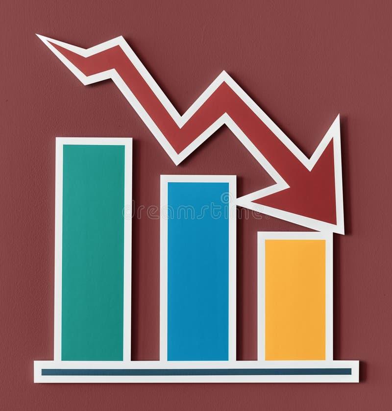 Gå ned diagrammet för stång för affärsrapport vektor illustrationer