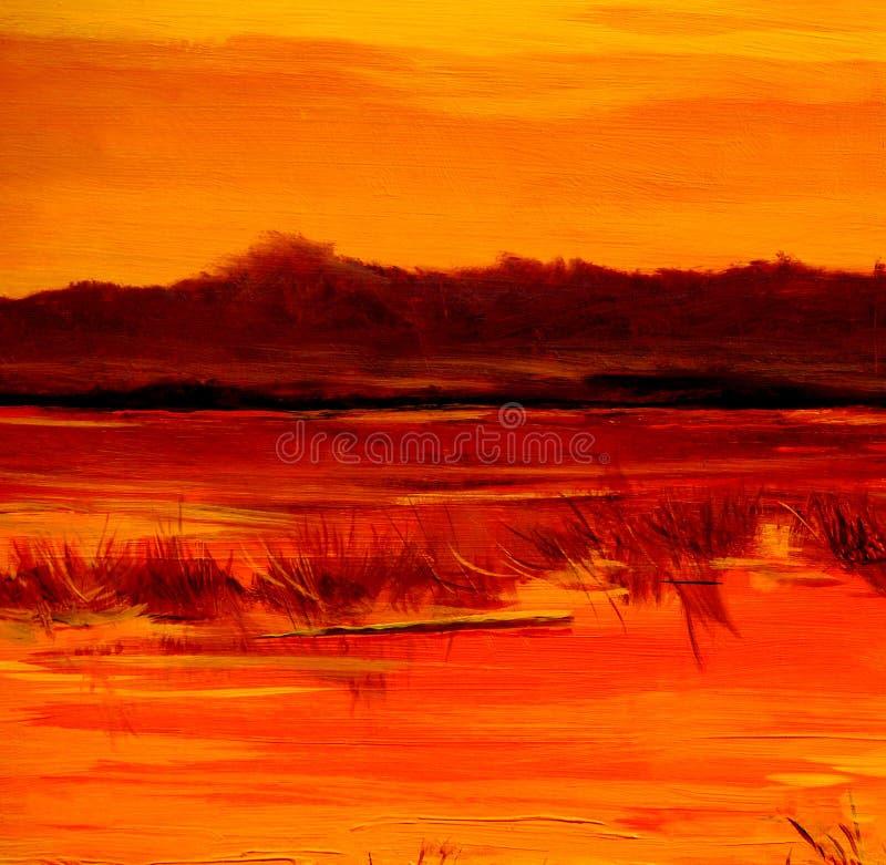 Gå ned på sjön som målar vid olja på kanfas royaltyfria foton