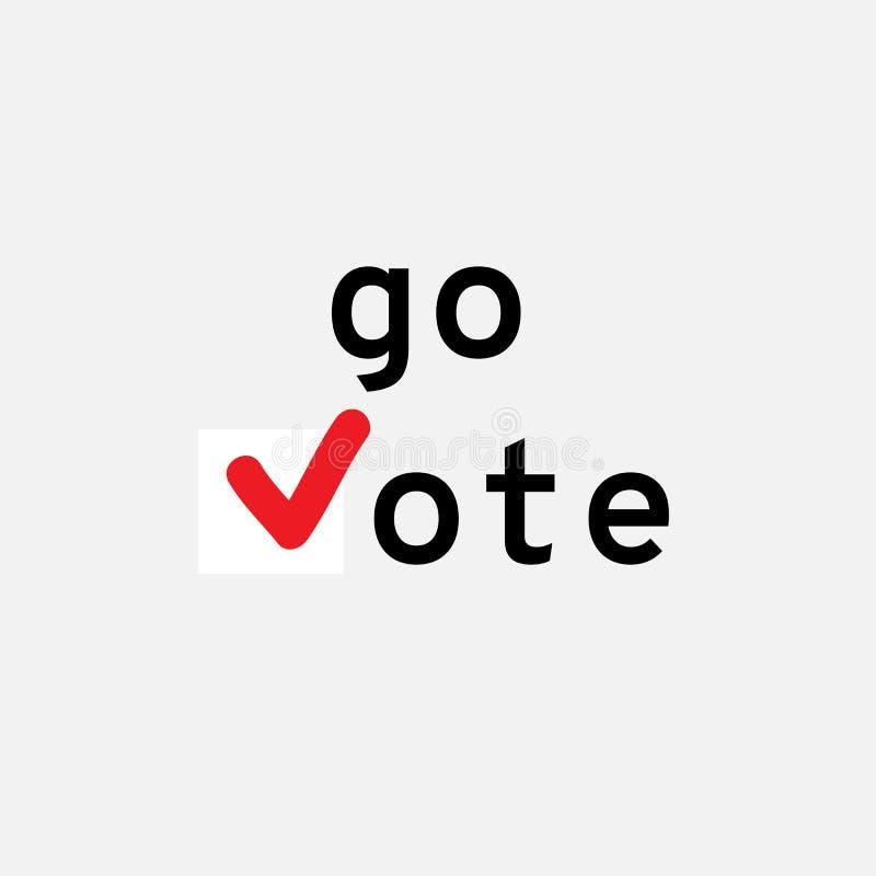 Gå röstar Symbolvektormall Bilden innehåller stordian och olika blanda funktionslägen stock illustrationer
