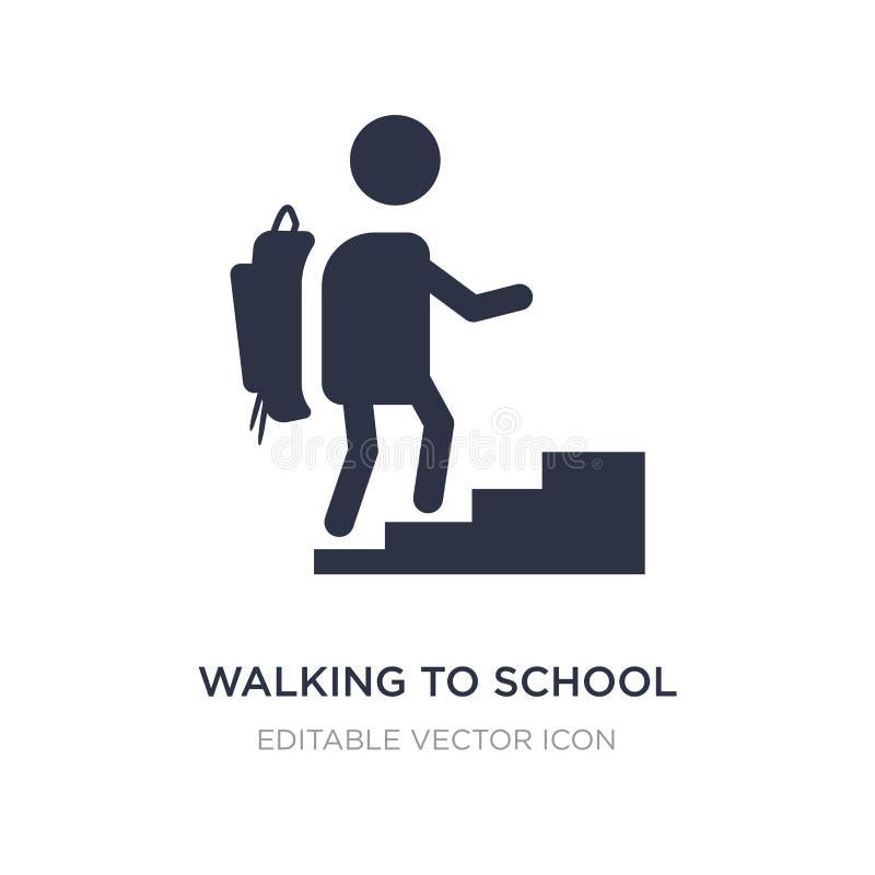 gå till skolasymbolen på vit bakgrund Enkel beståndsdelillustration från folkbegrepp royaltyfri illustrationer