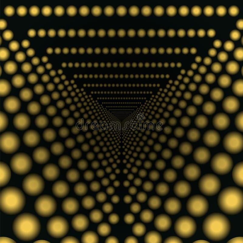 Gå tillbaka in i de gula ljusen för avståndstunnel stock illustrationer