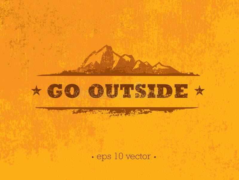 Gå utanför Begrepp för motivation för affärsföretagbergvandring idérikt Utomhus- design för vektor royaltyfri illustrationer