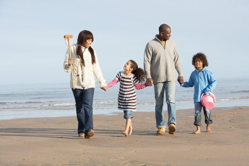 gå vinter för strandfamiljhav royaltyfria foton