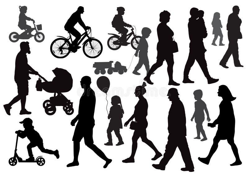 Gående gå för grupp människor i olika riktningar folkmassa vektor illustrationer