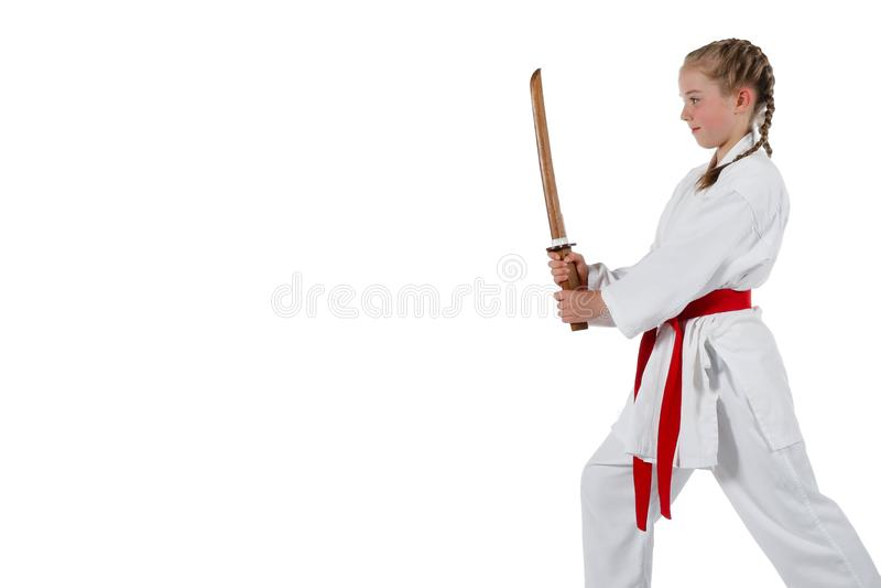 Gående karate för Tweenage flicka arkivfoto