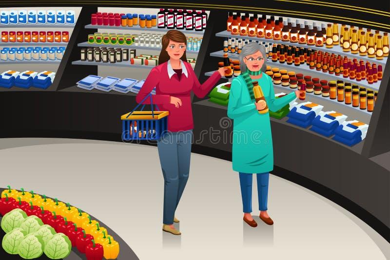 Gående livsmedelsbutikshopping för flicka och för farmor stock illustrationer