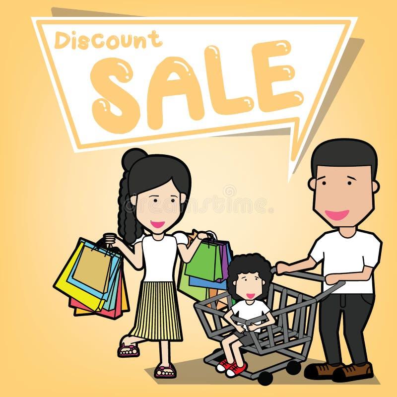 Gående shoppa för lycklig familj vektor illustrationer