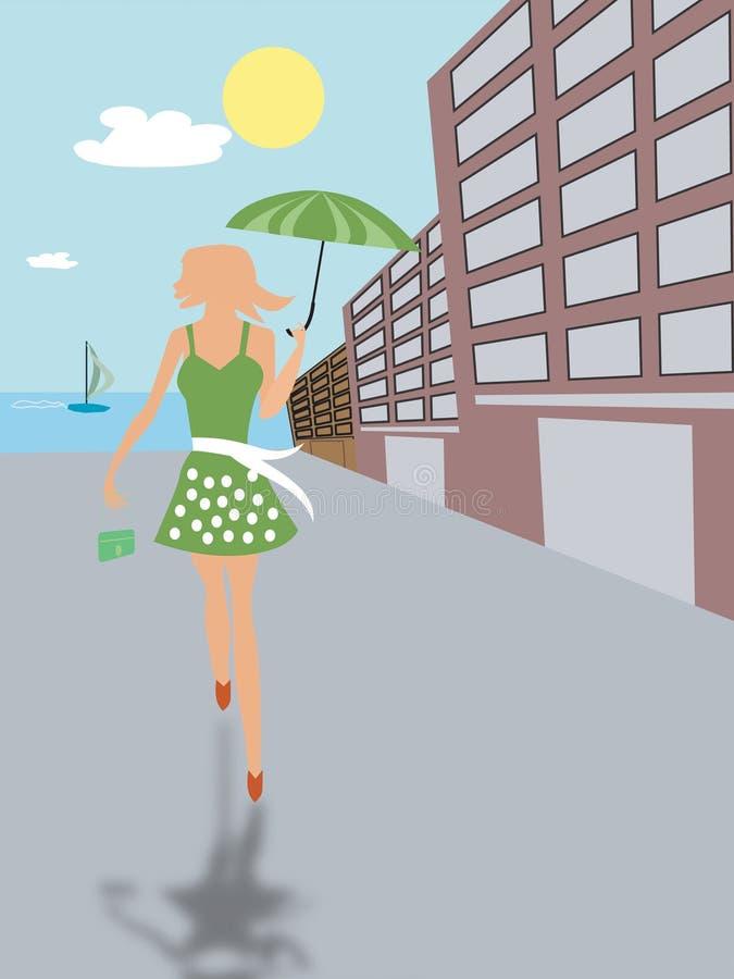 gående shopping för flicka vektor illustrationer