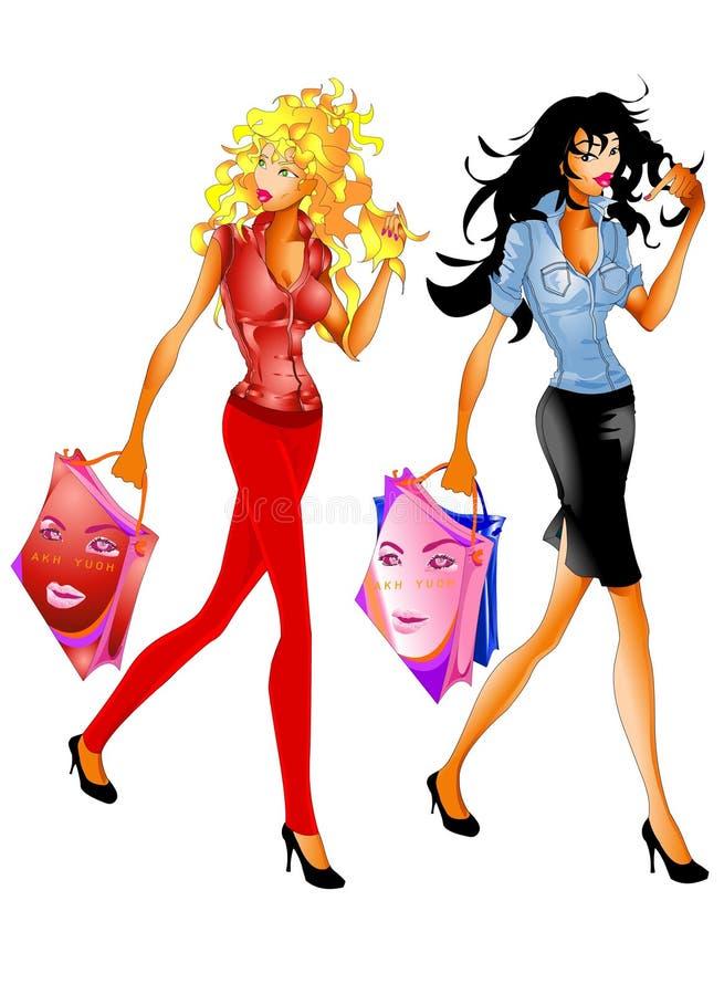 gående shopping för flickor till stock illustrationer