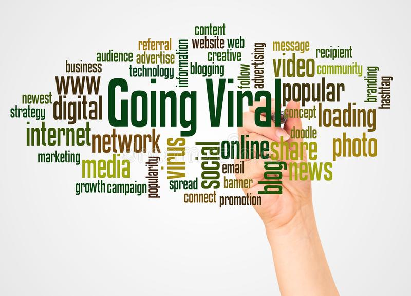 Gående virus- ordmoln och hand med markörbegrepp stock illustrationer