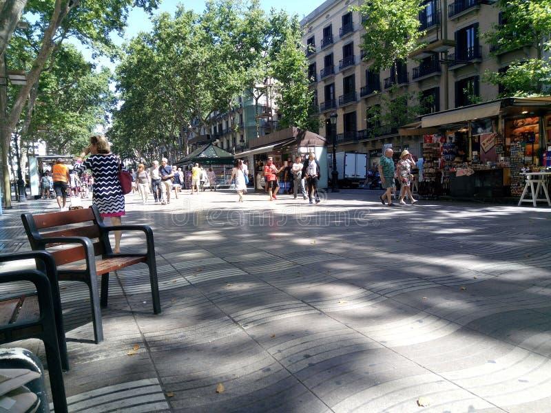 Gångbana i Barcelona arkivfoto